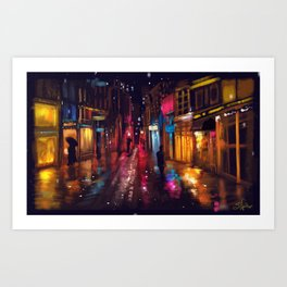 Rainy City Night Art Print