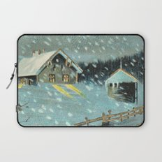 Snowy house in the woods vintage Laptop Sleeve