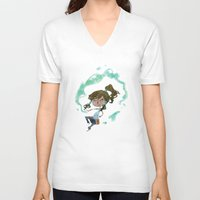 korra V-neck T-shirts featuring Chibi Korra by Serena Rocca