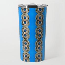 Beautiful Blue Beadwork Inspired Fashion Print Travel Mug
