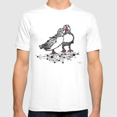 the Puffins MEDIUM Mens Fitted Tee White