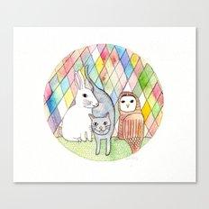 rabbit, cat, owl Canvas Print