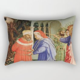 """Fra Angelico (Guido di Pietro) """"The Apostle Saint James the Greater Freeing the Magician Hermogenes"""" Rectangular Pillow"""