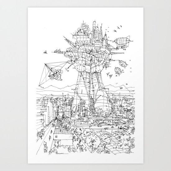 The Airship station (b&w version) Art Print