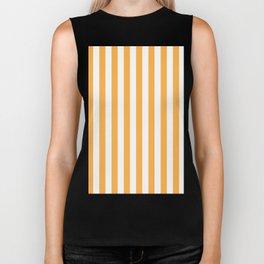 Narrow Vertical Stripes - White and Pastel Orange Biker Tank