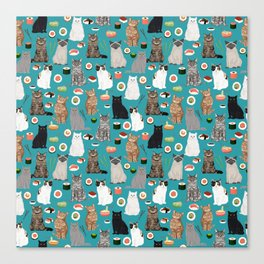 Cat Sushi pattern by pet friendly cute cat gifts for pet lovers foodies kitchen Canvas Print