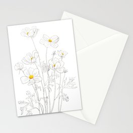white cosmos flowers  ink and watercolor Stationery Cards