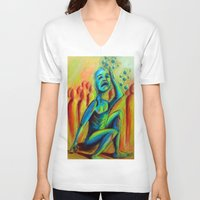 anxiety V-neck T-shirts featuring Anxiety by Michael Anthony Alvarez