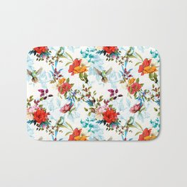 floral pattern. Poppy, wild blossom, rose, nightingale birds with leaves on flower background with h Bath Mat