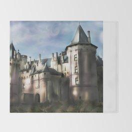 Chateau de saumur - france - castle - Loire - aquarelle  Throw Blanket