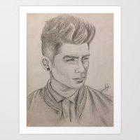 zayn malik Art Prints featuring Zayn Malik by vanessa