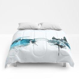 Glasgow Monochrome Blue Skyline Comforters