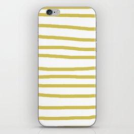 Simply Drawn Stripes Mod Yellow on White iPhone Skin