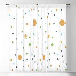 Polka space background Blackout Curtain