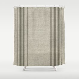 Farmhouse linen beige rustic grain sack texture vintage farmhouse lined linen design modern rustic Shower Curtain