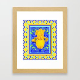 Blue-Yellow Lattice design Yellow Floral Art. Framed Art Print