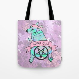 Corgi Cult Witchy 90s Hologram dog print Tote Bag