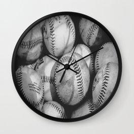 Baseballs in Black and White Wall Clock