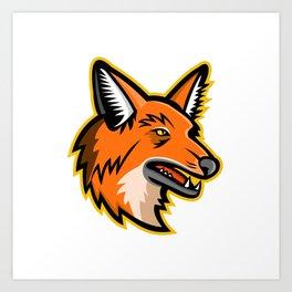 Maned Wolf Mascot Art Print