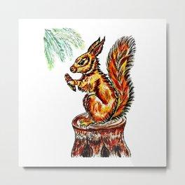Squirrel watercolor Metal Print