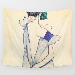 """Egon Schiele """"Rückenansicht eines Mädchens im blauen Rock (Back view of  a girl in a blue dress)"""" Wall Tapestry"""