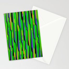 Vertical vivid curved stripes with imitation of the bark of a green tree trunk. Stationery Cards