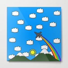 Mountains and Rainbow Metal Print