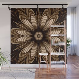 Abstract flower mandala with geometric texture Wall Mural