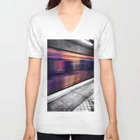 subway V-neck T-shirts featuring Subway by Yancey Wells