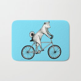 Shiba Inu Riding a Bicycle Bath Mat