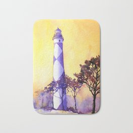 Fine art original watercolor painting of Cape Lookout lighthouse- Outer Banks, North Carolina Bath Mat