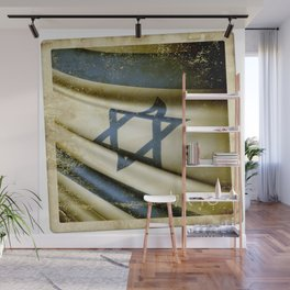 Israel grunge sticker flag Wall Mural