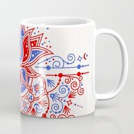 Sacred Lotus Mandala – Red & Blue Palette Coffee Mug
