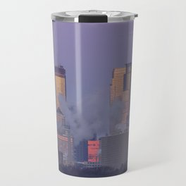 Supermoon Setting over Minneapolis Illuminated by Dawn Travel Mug