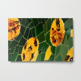 Photograph Yellow and Green Spanish Tile Mosaic Metal Print