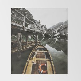 braies lake Throw Blanket