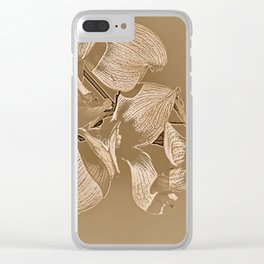 Dogwood Tree Flowers (sepia-light) Clear iPhone Case