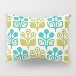 Mid Century Garden Flower Pattern Turquoise Chartreuse Pillow Sham