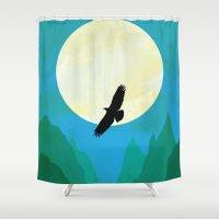 hawk Shower Curtains featuring Minimalist hawk by Tony Vazquez