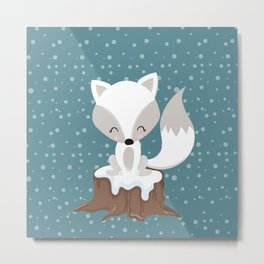 WINTERLAND FOX Metal Print
