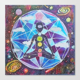 Meditation Chakra Space Tapestry Rainbow Galaxy Psychedelic Painting Art (Intergalactic Beings) Canvas Print