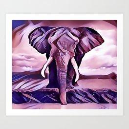 Elephant Drinking Water Art Print