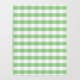 Color of the Year Large Greenery and White Gingham Check Plaid Poster