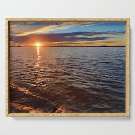 Sunset over the lake Serving Tray