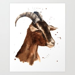 Goat, billy goat, goat painting, goat print, cute animal art, watercolor animals, animal paintings Art Print