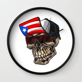 Cool Puerto Rico Skull With Cap and Boricua Flag Wall Clock