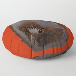 Red Tailed Hawk on Red Floor Pillow
