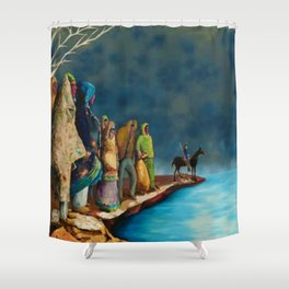 "African American Classical Masterpiece ""Mississippi River - Trail of Tears"" by Benny Andrews Shower Curtain"