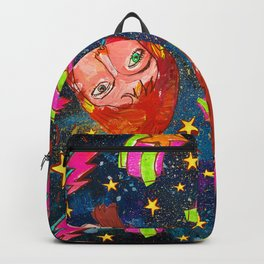 Galactic Glam 70s Retro Star Man Pattern Backpack