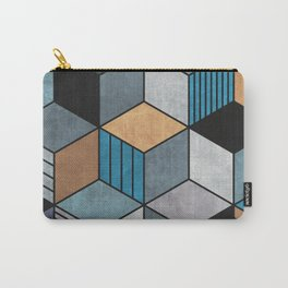 Colorful cubes - blue, grey, brown Carry-All Pouch
